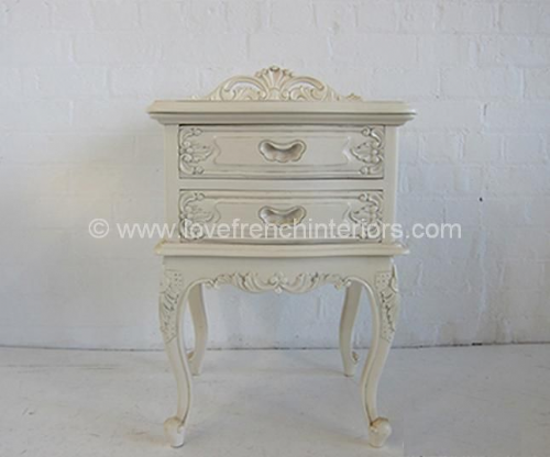 Louis Two Drawer French Bedside